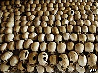 Skulls of Tutsi victims of the Rwandan genocide are lined up at a memorial.